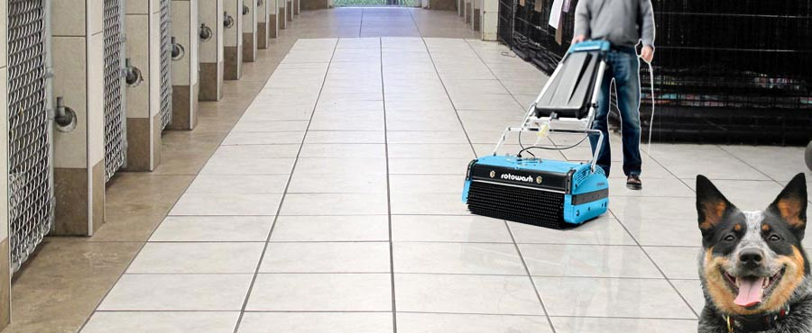 Cleaning Veterinary Dog Kennel Floors - Rotowash